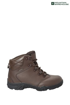 Mountain Warehouse Brown Canyon Kids Leather Waterproof Walking Boots