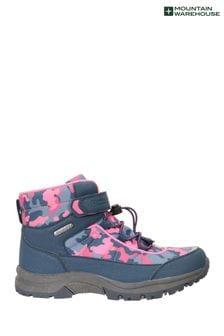 Mountain Warehouse Navy Camo Kids Lined Waterproof Walking Boots