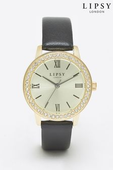 Lipsy Black Diamante Face Watch