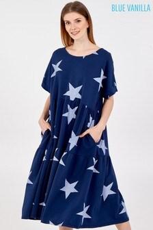 Blue Vanilla NavyWhite Star Short Sleeve Tiered Dress