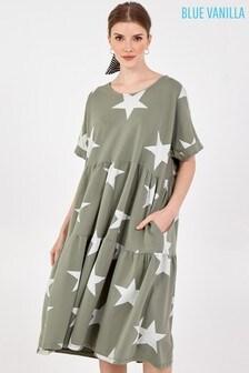 Blue Vanilla Khaki White Star Short Sleeve Tiered Dress