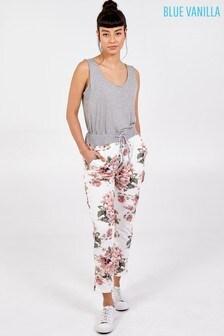 Blue Vanilla White Pink Rose Print Joggers