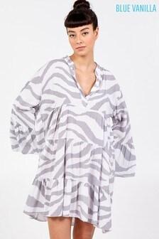 Blue Vanilla Grey Zebra Print Oversized Tiered Dress