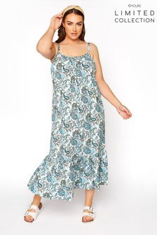 Yours Limited Blue Strappy Tierred Beach Dress Paisley