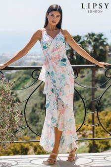 Lipsy White Printed Wrap Ruffle Maxi Dress
