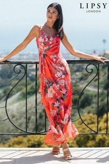 Lipsy Red Printed Wrap Ruffle Maxi Dress