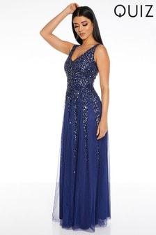 Quiz Blue Sequin Embellished Maxi Dress