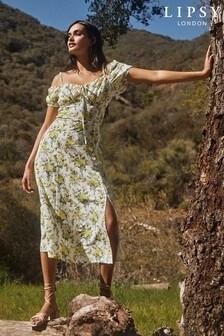 Lipsy White Cold Shoulder Printed Midi Dress