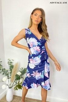 Sistaglam Dark Blue Floral Floral Wrap Midi Dress