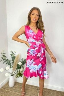 Sistaglam PINK Floral Wrap Midi Dress