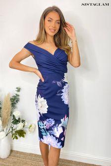 Sistaglam Blue Bardot Fitted Floral Dress