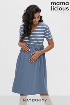 Mamalicious China blue wstripes Maternity Nursing Wrap Dress