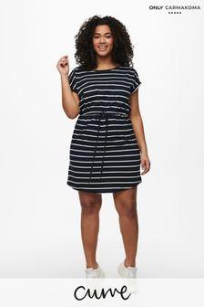 Only Carmakoma Navy Stripe Curve Jersey Printed T-Shirt Dress