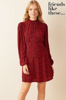 Friends Like These Red Floral Long Sleeve Mini Dress