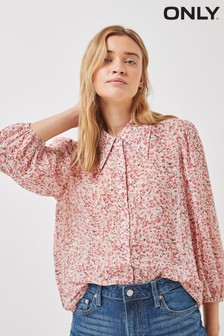 Only Rose Smoke Ditsy Floral Print Shirt