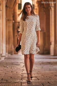 Sosandar ivory Spot Swing Dress