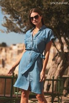 Sosandar blue Belted Dress