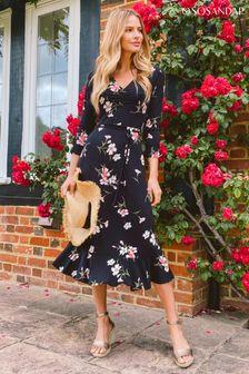 Sosandar multi floral Floral Print Jersey Midi Dress