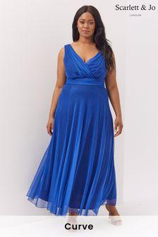 Scarlett & Jo Blue Mesh Maxi Dress