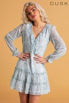 Dusk White Animal Print Ruffle Dress