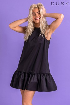 Dusk Black Cotton Sateen Tiered Frill Dress