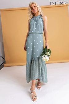 Dusk Green Tiered Multi Spot Print Dress