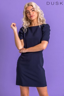 Dusk Blue Puff Sleeve Shift Dress