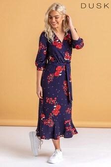 Dusk Blue Floral Fluted Hem Midi Dress