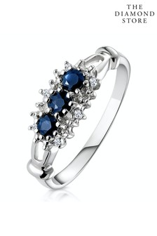 The Diamond Store Blue Sapphire 0.34ct And Diamond 9K White Gold Ring