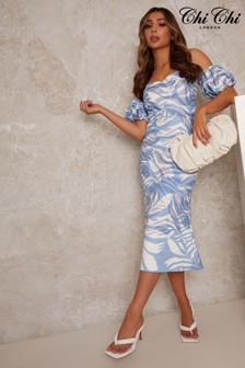 Chi Chi London Blue Puff Sleeve Floral Print Bodycon Dress