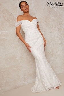 Chi Chi London White Lace Sweet Heart Wedding Dress With Train