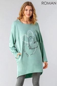 Roman Green One Size Foil Heart Print Lounge Top
