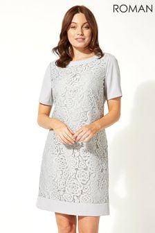 Roman Grey Lace Shift Dress