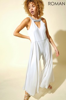 Roman Grey Sparkle Trim Jumpsuit