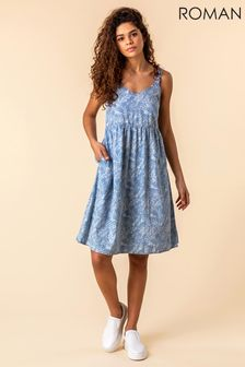 Roman Blue Tropical Print Sundress