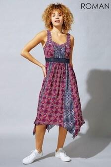 Roman Red Tile Floral Print Hanky Hem Sun Dress