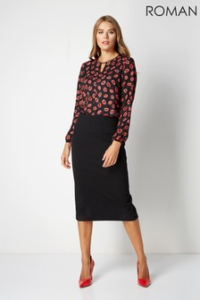 Roman Black Textured Pencil Skirt