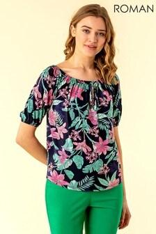 Roman Blue Tropical Floral Print Bardot Top