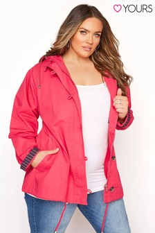Yours Pink Cotton Twill Parka With Contrast Lining
