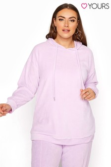 Yours Pink Velour Sweat Hoodie