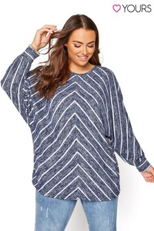 Yours Blue 3/4 Sleeve Chevron Stripe Top