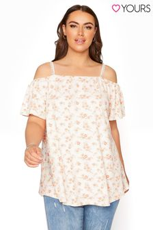 Yours White Floral Cold Shoulder Swing Top