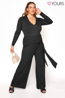 Yours Black Belted Jersey Wide Leg Trouser