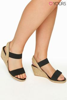 Yours Black Espadrille Wedge Sandal