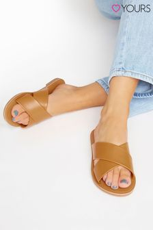 Yours Brown Cross Strap Mule