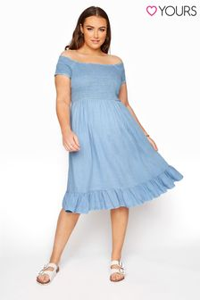 Yours Blue Acid Wash Shirred Midi Bardot Dress