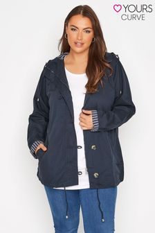 Yours Blue Cotton Twill Parka With Contrast Lining