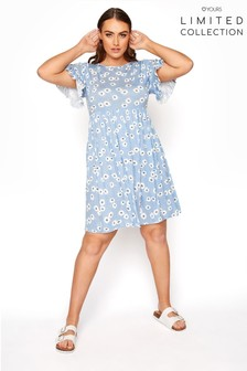 Yours Limited Blue Floral Frill Sleeve Dress