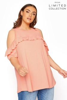 Yours Limited Orange Cold Shoulder Rib Swing Top Frill