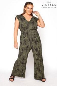 Yours Limited Black Tropical Print Jumpsuit